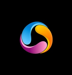 circle colorful 3d abstract logo vector image