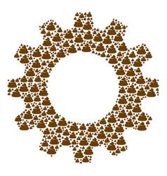 Cog mosaic of shit icons vector