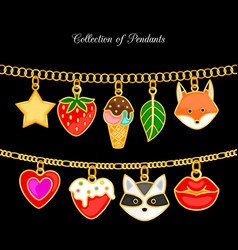 collection pendants animal face and food vector image