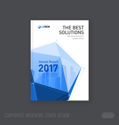Corporate brochure cover design with lowpoly solid vector
