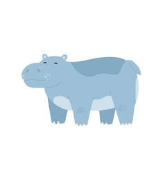 Cute baby hippo standing with closed eyes vector