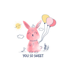 cute bunny for t-shirt design vector image