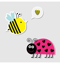 Cute cartoon bee and lady bug card vector