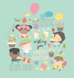 cute little children with easter theme happy vector image