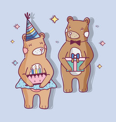 Cute wild bears with a cake and gift vector