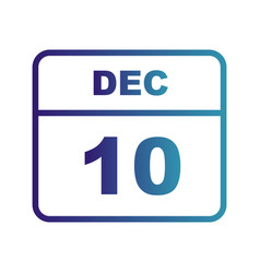 December 10th date on a single day calendar vector