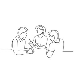 Employees discuss about work ideas one line vector