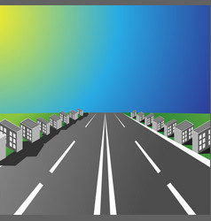 Empty highway with small houses in the sunset vector