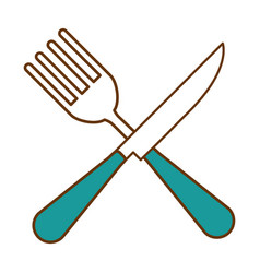 fork and knife cutlery tool icon vector image