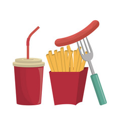 fries french fast food design isolated vector image