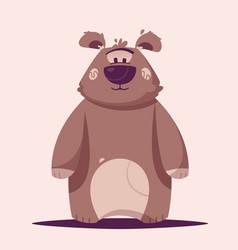 funny brown bear character cartoon vector image