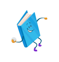 funny humanized blue book character throwing vector image