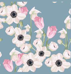 Garden powder white pink anemone flower and tulip vector