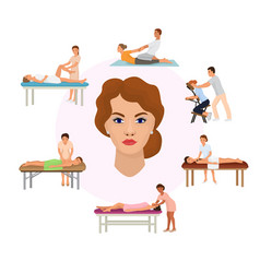 Girls on massage spa procedures vector
