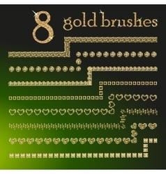 Gold glitter brushes vector