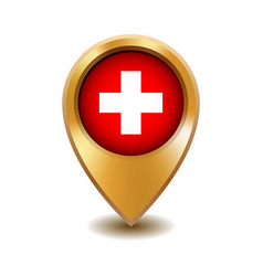 golden metal map pointer with switzerland flag vector image