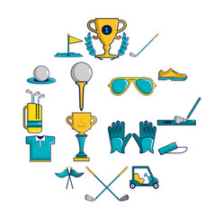 golf icons set symbols cartoon style vector image