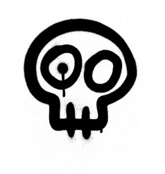 graffiti emoji skull sprayed in black on white vector image vector image