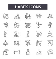 Habits line icons signs set outline vector
