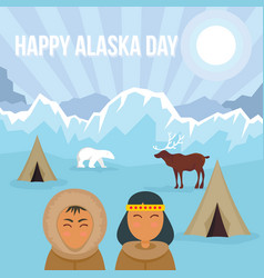 happy alaska day winter banner flat style vector image