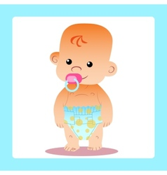 Happy baby with a pacifier in diapers vector