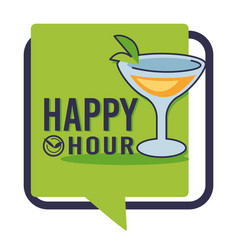 happy hour isolated icon bar or pub martini or vector image