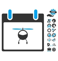Helicopter Calendar Day Icon With Bonus vector