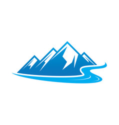 Hiking logo mountain river icon vector