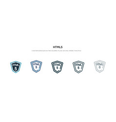 html5 icon in different style two colored and vector image