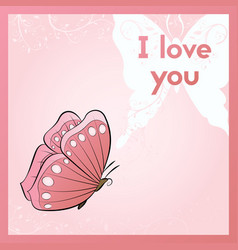 i love you a romantic ecard postcard with vector image