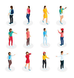 isometric teenagers collection vector image