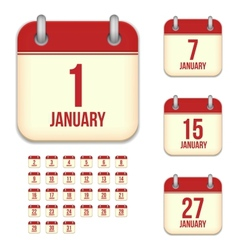 January calendar icons vector image