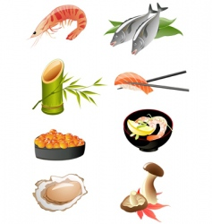 Japanese food icons vector image