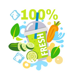 Jar with vegetable smoothie and abstract spots vector