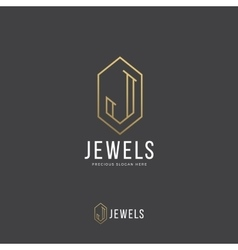 Jewels Abstract Logo Template Hand Drawn vector