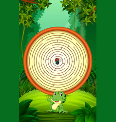 Labyrinth game with funny frog and flies vector