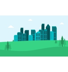 Landscape town in the hills flat vector image