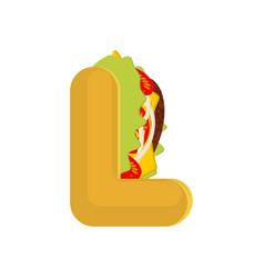 Letter l tacos mexican fast food font taco vector