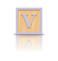 Letter V wooden alphabet block vector