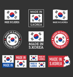 made in south korea labels set republic of korea vector image