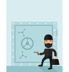 Man in black hacking bank safe vector image
