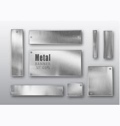 Metal banners set realistic metal brushed vector