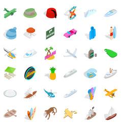 miami icons set isometric style vector image