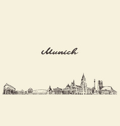 munich skyline germany city drawn sketch vector image