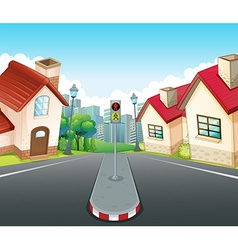 Neighborhood scene with houses and road vector