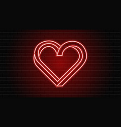 neon heart bright red sign on a brick wall vector image
