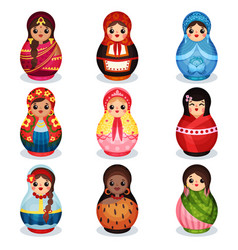 Nesting dolls set wooden matryoshka in colorful vector