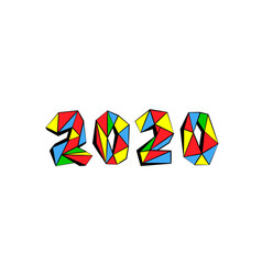 new year mosaic 2020 text design polygonal pop vector image