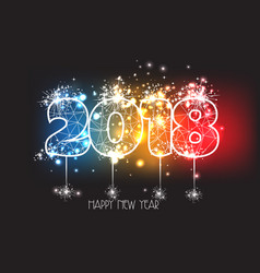 new years 2018 polygonal line and fireworks vector image