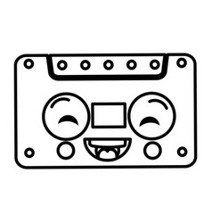 old cassette kawaii character vector image